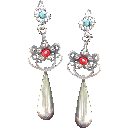 Turqouise Coral Earrings
