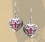 Red Coral Heart Earrings