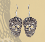 Mexican Style Sterling Skull Earrings
