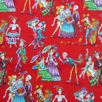 Mexico Folklore Skeletons Fabric